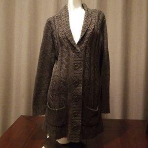 Crocheted warm fudge button sweater